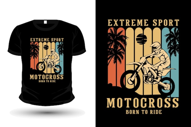 Extremsport motocross merchandise silhouette t-shirt mockup design