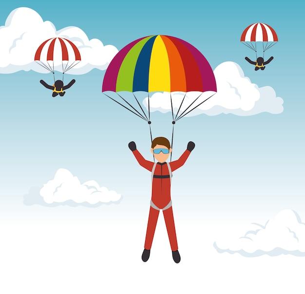 Extremsportler des parachutist-mannes