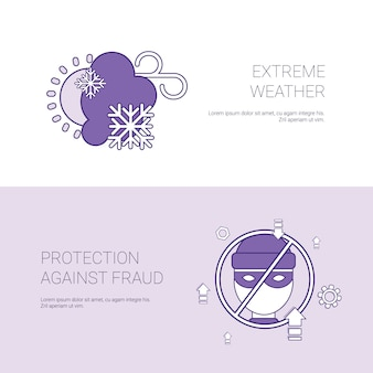 Extremwetter und schutz gegen betrug konzept vorlage banner