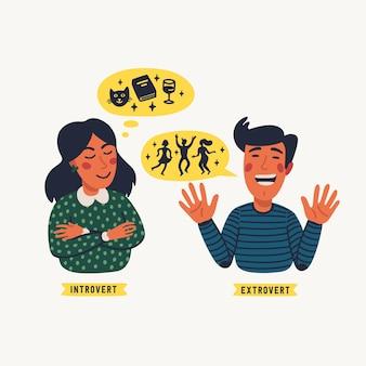 Extrovertiert und introvertiert. extraversion und introversionskonzept - eine junge ruhige frau und gesprächig