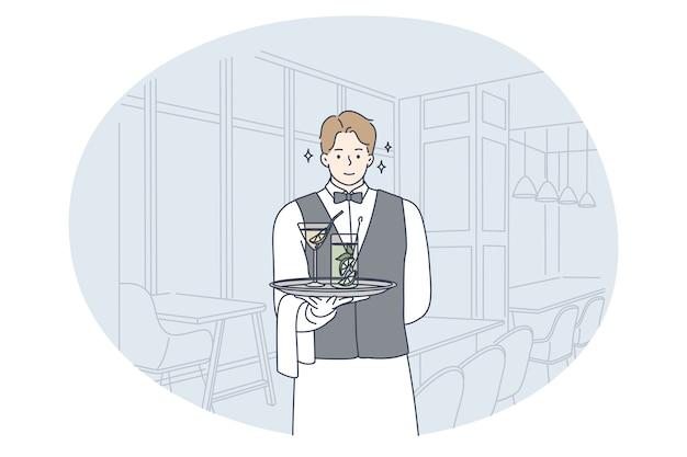 Exzellenter service, kellnerberuf, berufskonzept. karikatur des jungen lächelnden mannes kellner