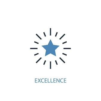 Exzellenz-konzept 2 farbiges symbol. einfache blaue elementillustration. exzellenz-konzept-symbol-design. kann für web- und mobile ui/ux verwendet werden