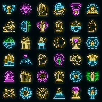 Exzellenz-symbole gesetzt. umrisse von exzellenzvektorsymbolen neonfarbe auf schwarz