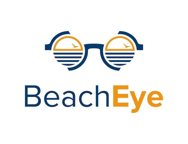 Eyegalsses mit strand- und vogelumriss, einfacher, schlanker, moderner logo-design-vektor