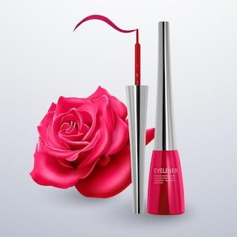 Eyeliner von leuchtend rosa farbe
