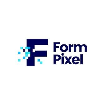 F-buchstaben-pixel-markierung digitale 8-bit-logo-vektor-symbol-illustration