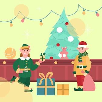 Fabelhafte elfen, die weihnachtsspielzeug auf weihnachtsfabrik verpacken.
