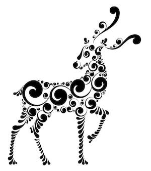 Fabelhaftes weihnachtshirsch, stilisierte vektorillustration
