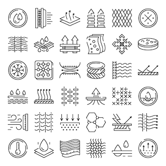 Fabric feature icons set, umriss-stil