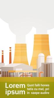 Fabrik-gebäude-naturverschmutzungs-betriebs-rohr-abfall-fahne