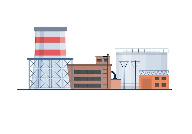 Fabrik industrie manufaktur strom elektrizität gebäude flache icons set kernkraftwerke