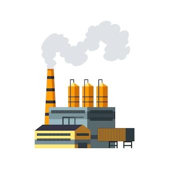 Fabrik industriell. manufakturindustriegebäude raffineriefabrik oder kernkraftwerk. komplex von chemiefabrikgebäuden lokalisiert auf weißem hintergrund.