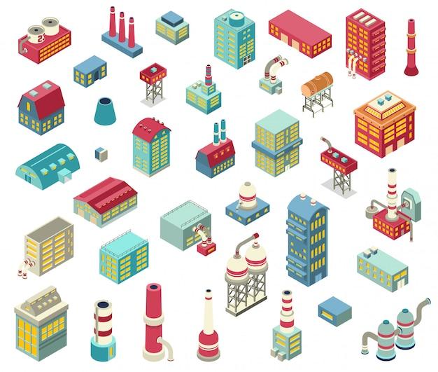 Fabrik isometrische objekte set