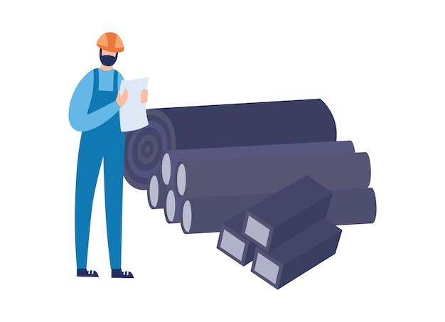 Fabrikarbeiter oder ingenieur der gießerei oder stahlwalzindustrie führt aufzeichnungen über metallurgische produkte, flach isoliert auf weißem hintergrund.