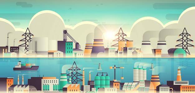 Fabrikbau industriegebiet anlage mit rohren und kaminen