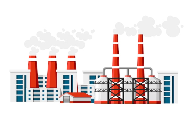 Fabriken mit rauchrohren. problem der umweltverschmutzung. erdfabrik verschmutzt mit kohlenstoffgas. illustration. illustration auf weißem hintergrund.
