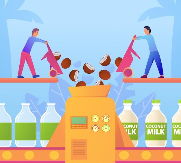 Fabrikförderer kokosmilch vegane produkte. zwei zeichentrickfiguren gießen kokosnussstücke in eine maschine, die ein gemüsegetränk abfüllt.