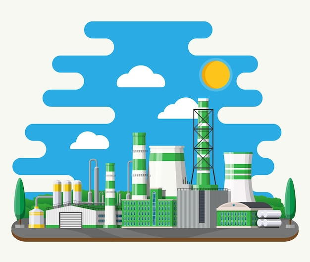 Fabrikgebäude. industriefabrik, kraftwerk. rohre, gebäude, lager, lagertank. grüne öko-pflanze. bäume, wolken und sonne.