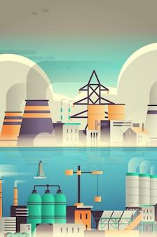 Fabrikgebäude industriezone anlage mit rohren