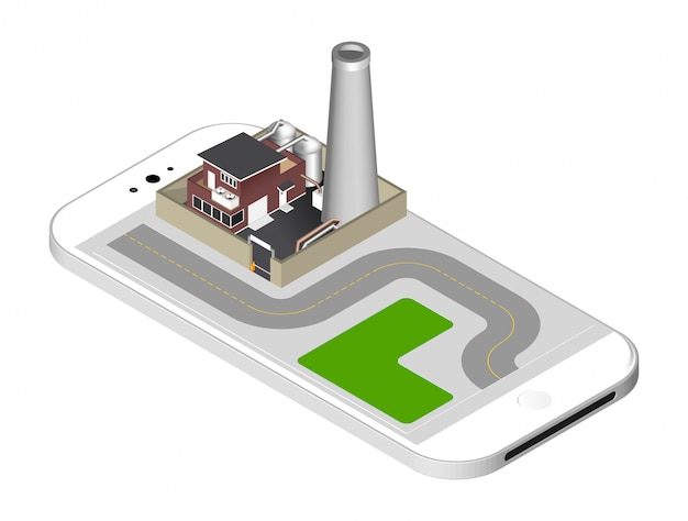 Fabrikgebäude mit einem rohr, zisternen, zaun mit einer sperre - stehend auf dem smartphone-bildschirm. vektor-illustration isoliert
