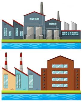 Fabrikgebäude mit hohen kaminen