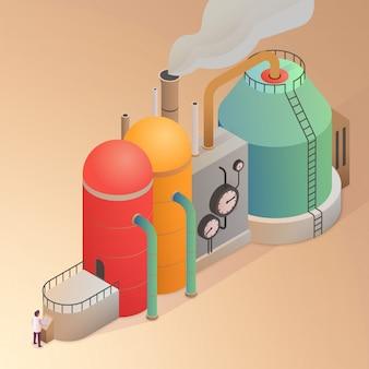 Fabrikgebäude mit rohren.