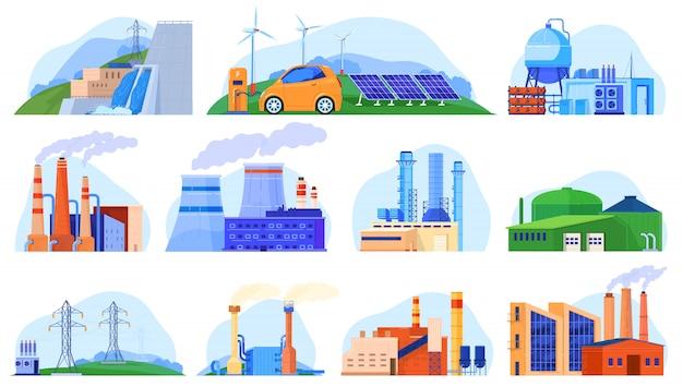 Fabrikkraftwerke satz von industriekonstruktionen, städtische umgebung, illustration von produktionsstationen.