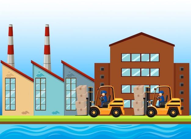 Fabrikszene mit dem arbeiten mit zwei gabelstaplern