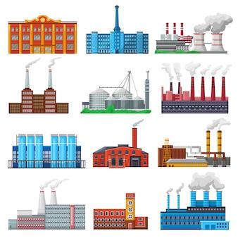 Fabrikvektor-industriegebäude und industrie oder herstellung mit ingenieurleistungsillustrationssatz der herstellungskonstruktion, die energie oder elektrizität isoliert erzeugt