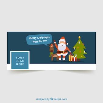 Facebook abdeckung mit einem rentier, weihnachtsbaum und weihnachtsmann