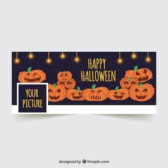 Facebook-abdeckung mit handgezeichneten halloween-kürbissen