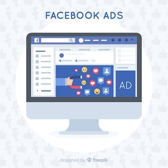 Facebook anzeigen flachen hintergrund