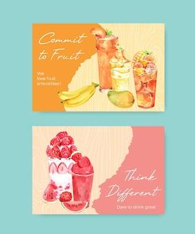 Facebook banner vorlage mit früchten smoothies
