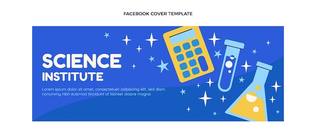 Facebook-cover des flachen design-wissenschaftsinstituts