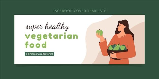 Facebook-cover für vegetarisches essen im flachen design