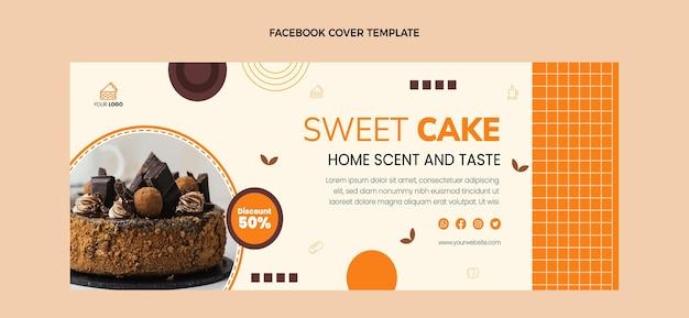 Facebook-cover im flachen design