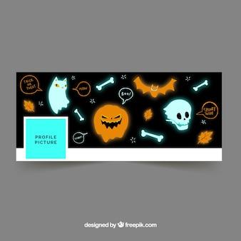 Facebook cover mit geistern und halloween-elementen