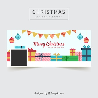Facebook cover mit geschenken im flachen design