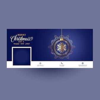 Facebook-cover mit weihnachtskugel-design