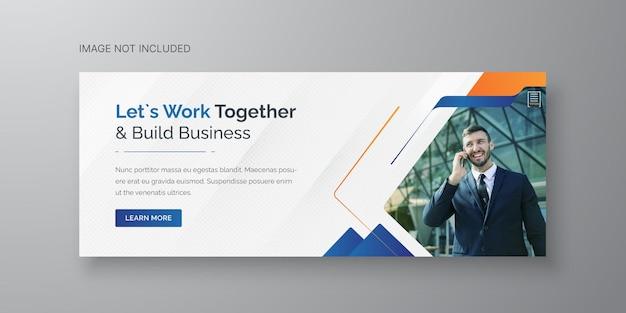Facebook-cover-vorlage für die marketingförderung für unternehmen und digitales geschäft premium-vektor