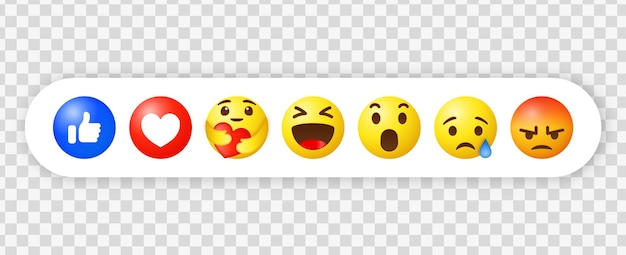 Facebook emoji reaktionen und social media benachrichtigungssymbole