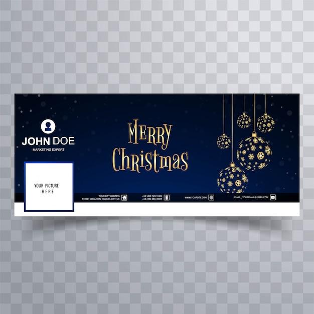 Facebook-fahnenschablonenhintergrund der kugel der frohen weihnachten