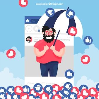 Facebook-Hintergrund mit Charakter, Herzen und Likes