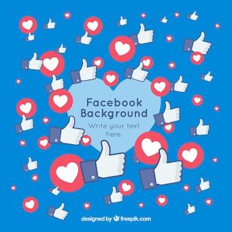 Facebook-hintergrund mit herzen und likes