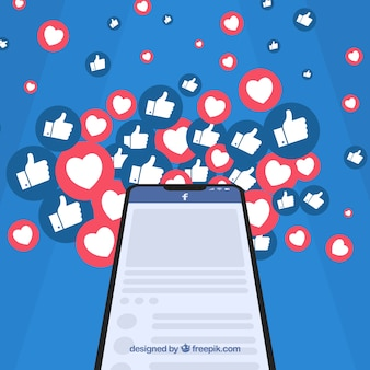 Facebook-hintergrund mit herzen und wie ikonen