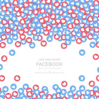 Facebook-hintergrund mit likes und herzen