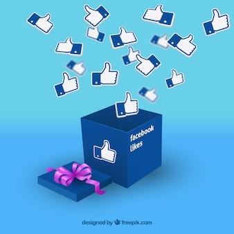 Facebook-Hintergrund mit realistischen Symbolen