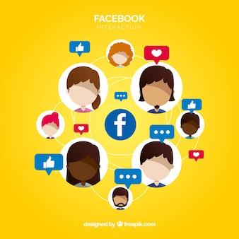 Facebook-hintergrund mit vielen likes und gesichter