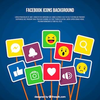 Facebook-hintergrund mit vielen symbolen