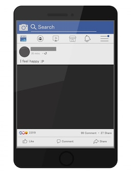 Facebook-icons und komponenten von social media-bildschirmen